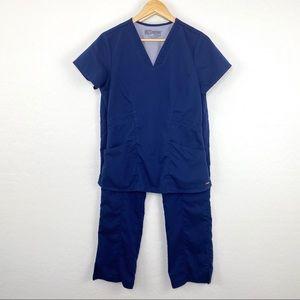 Grey's Anatomy navy scrub set size small